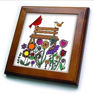 3dRose Fun Cool red Cardinal Bird and Wren on Flower Garden Bench. - Framed Tiles (ft_338246_1)