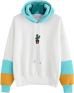 Kingwo Femmes Sweat à Capuche Imprimé Cactus Sweat-Shirt à Capuche Pull à Capuche