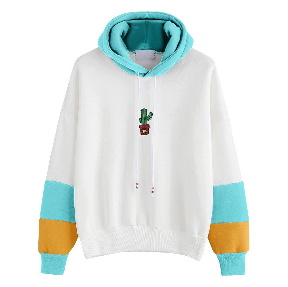 Long Sleeve Pullover Womens Simple Style Sweatshirts Cactus Print Shirts Teen Girls Casual Jumper Blouse Tops