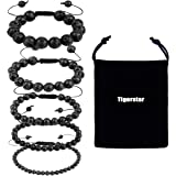 Tigerstar Natural Lava Rock Beads Bracelet,Stretch Elastic Bracelets,Adjustable Braided Rope Gemstone Bracelets for Men Women