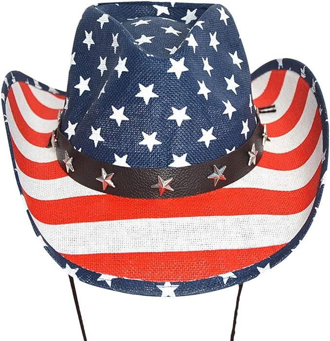 Cap White Edge Amosfun Sombrero de Vaquero de la Bandera Americana Personalidad cl/ásica Verano Sombrero de Sol Sombrero de Vaquero de ala Ancha
