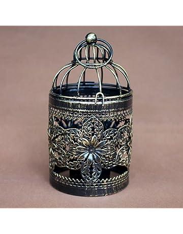 Haodou Candelabros Hueco Colgante Jaula de Pájaro Candelabro Decoración Nupcial Candelabros Vintage Decoración del Hogar