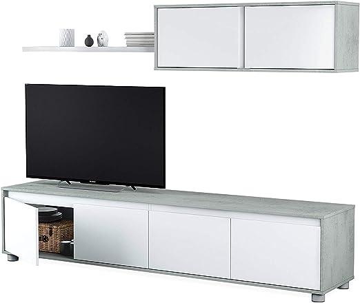 Mueble de salón Moderno, Medidas: 43 cm de Altura x 200 cm de Ancho x 41 cm de Fondo (Blanco Artik y Gris): Amazon.es: Hogar
