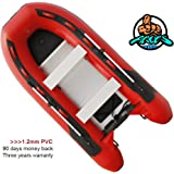 Heavy-Duty 2018 NEW Thermobonding 1.2mm Thickness PVC 12.8' Inflatable Fishing Boat Dinghy Tender,Aluminum Floor Bench Seat,Deep V Bottom,Made By German PVC,Max 25 HP,Transport Canada approved