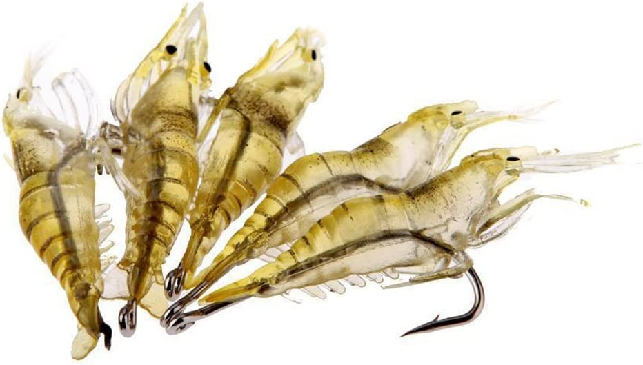 Tekijun Shrimp Fishing Simulation Soft Prawn Lure Hook Tackle Bait Lures 6pcs
