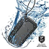 Impact Level 1 by iLuv, IPX7 Rated Portable Floating Waterproof Bluetooth Speaker with Rugged Design, Rechargeable Battery, Aux-in Port, and Hands-free Function (Black)
