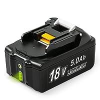 NeBatte BL1850B 18V 5,0 Ah Lithium Packs de batterie remplacement pour Makita BL1850B BL1850 avec indicateur