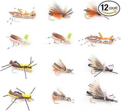 Grasshopper Trout Flies Assortment Dropper Hopper Foam Body 12 Flies 4 Patterns
