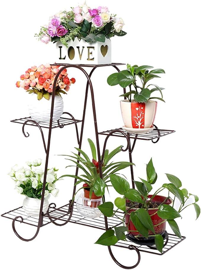 Tosbess Maceteros Porta Macetas para plantas, Soporte Macetas Plantas Metálico, Escalera Estantería Decorativas de Plantas Flores, 3 Pisos, 74 x 72 x 21cm: Amazon.es: Jardín