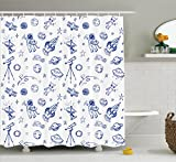 apartment decor ideas Ambesonne Apartment Decor Collection, Original Outer Space Featured Celestial Planetary Solar System Properties Ufo Graphic, Polyester Fabric Bathroom Shower Curtain, 75 Inches Long, Blue White