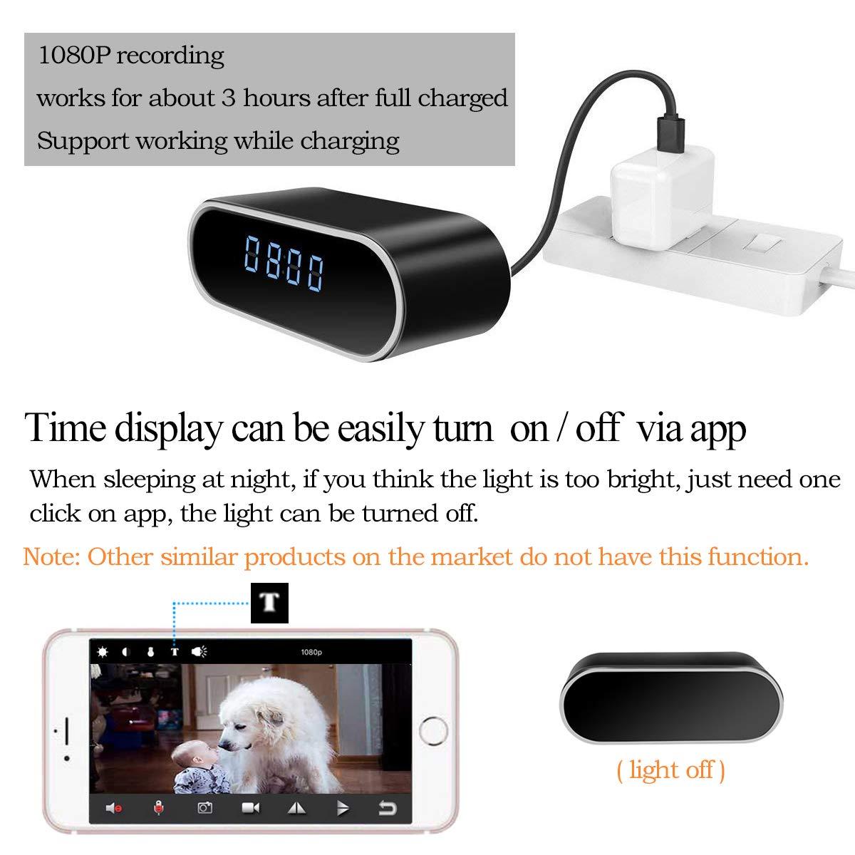 Cámara espía, KAMRE actualizado 1080P WiFi cámara oculta reloj grabadora de vídeo cámara IP inalámbrica con visión nocturna y detección de movimiento 140° ...