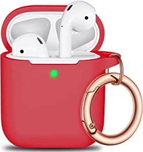 AirPods Case Cover Keychain, Full Protective Silicone AirPods Accessories Skin Cover for Women Girl with Apple AirPods Wireless Charging Case,Front LED Visible-Red