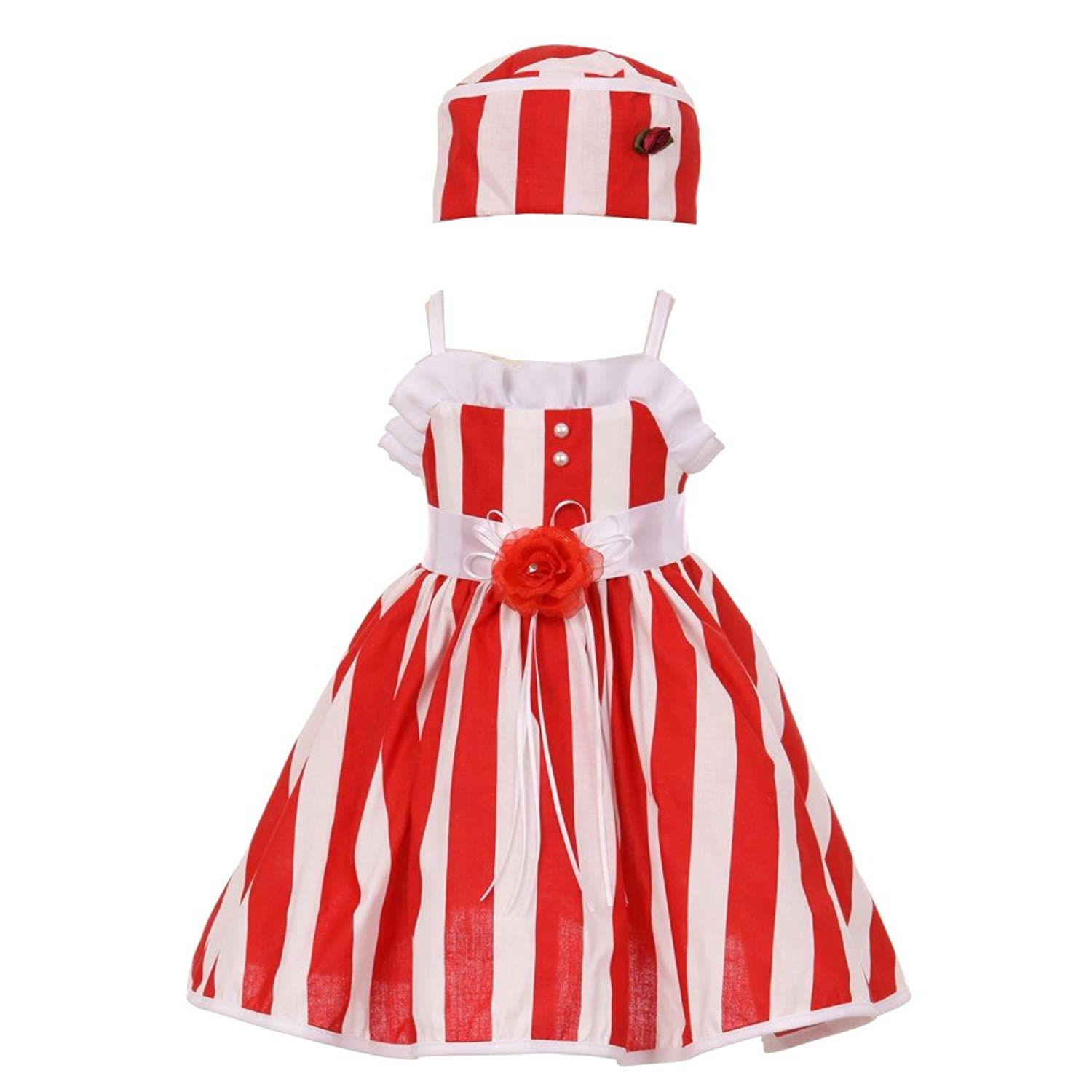 17d7ae1046c Amazon.com  Baby Girls Red White Vertical Stripe Ruffle Detail Easter Hat  Dress 6-24M  Clothing