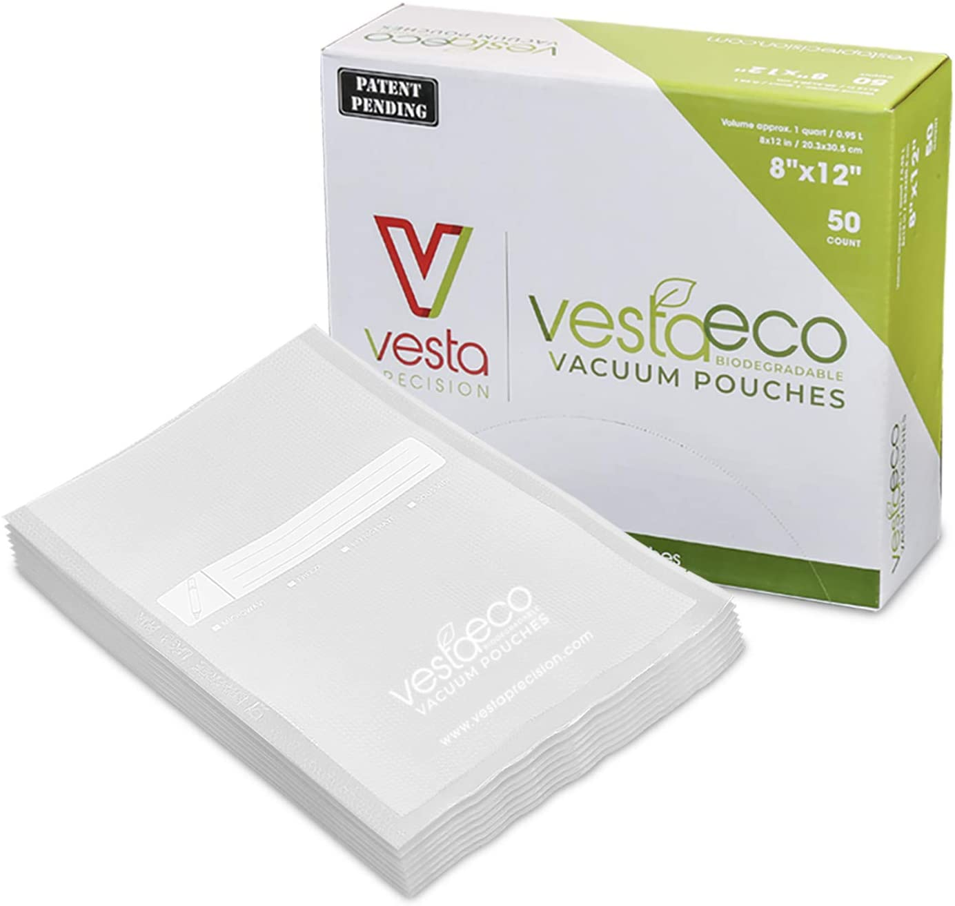 VestaEco Biodegradable Vacuum Sealer Bags | 8x12 Inch Quart 50 count | OK Compost | Certificates acquired | Patent Pending | Great for food vac storage or sous vide | sustainable environment saver |