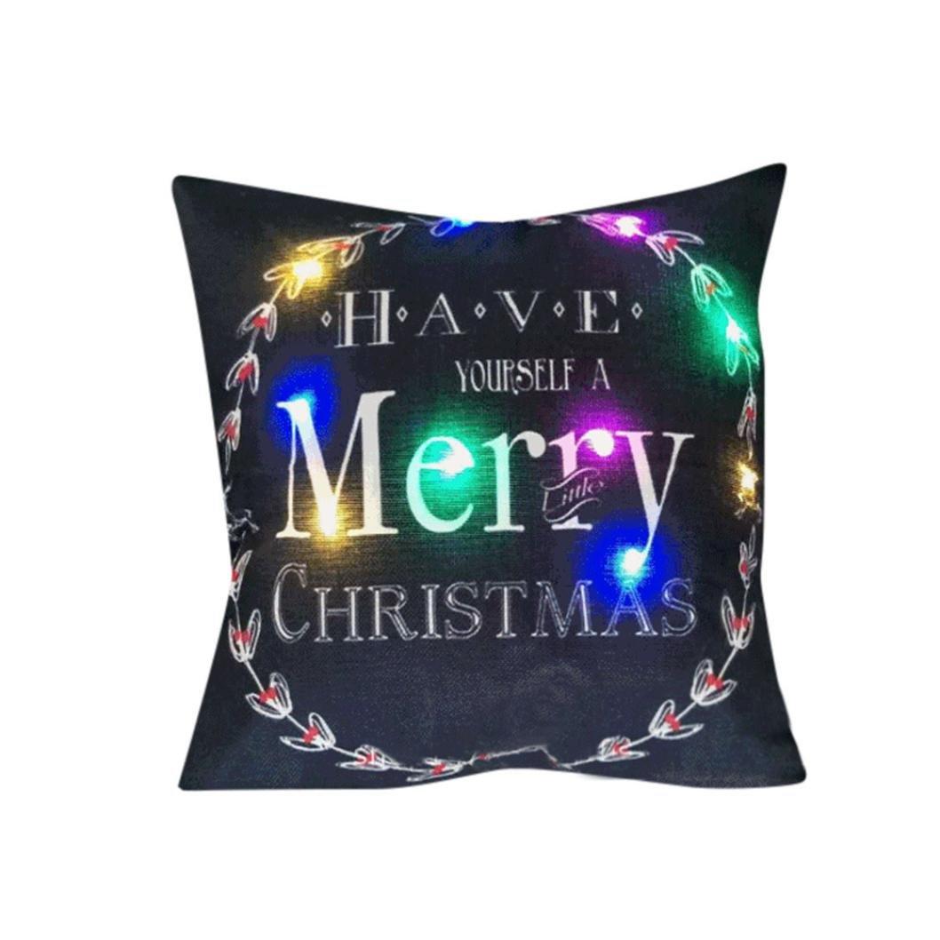 Type E Christmas Stylish Amusing LED Cushion,Y56 Christmas Lighting LED Cushion Cover Home Decor Throw Pillowcase Sofa Flashing