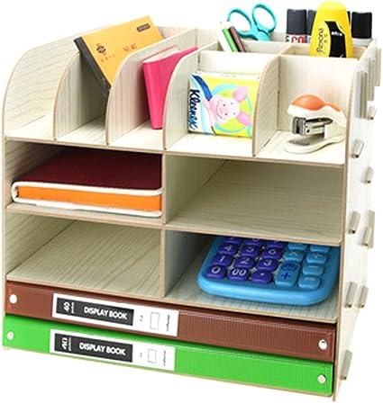 tosbess Madera Organizador de escritorio mesa organizador Oficina mando a distancia caja Organización Caja escritorio, color 1 32 * 24 * 27cm: Amazon.es: Oficina y papelería