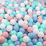 Wonder Space Soft Pit Balls, Smooth Crush-Proof Plastic Ocean Ball, Phthalate & BPA Chemicals Free with No Smell, Safe for Toddler Ball Pit/ Kiddie Pool/ Indoor Baby Playpen, Pack of 50, Mix 4 Colors
