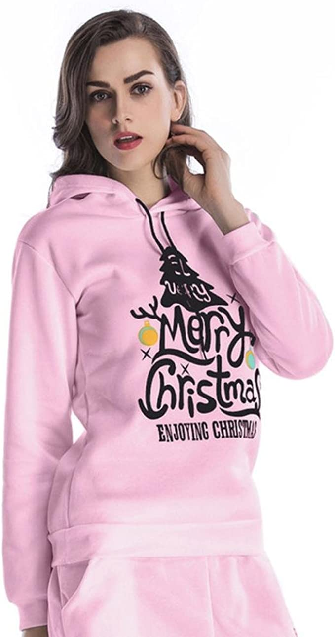 Hunputa Women Christmas Tree Printed Long Sleeve Hoodie Sweatshirt Pullover Hooded Loose Casual Tops Blouse