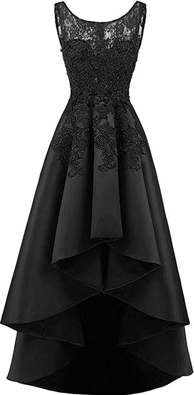 Black Rmaytiked Womens Lace Beading Hilo Wedding Party Dress Satin Prom Dress 2019 Evening Formal Gowns