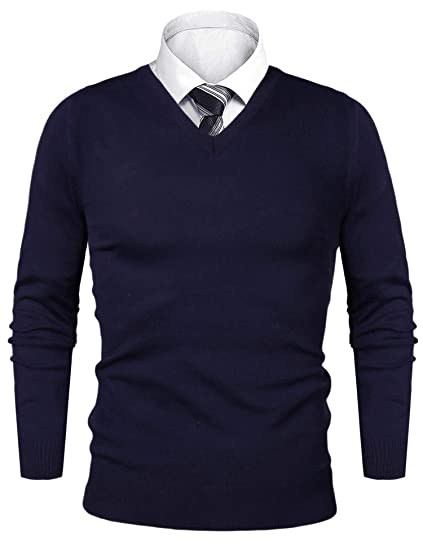 2ecc0779fee0 iClosam Pull Homme col V Cardin Hommes Pull en Maille Pull en Coton  Classiques