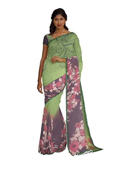 963336fe62 South India SHOPPING MALL Women Green Georgette Saree (Free Size): Amazon.in:  Clothing & Accessories
