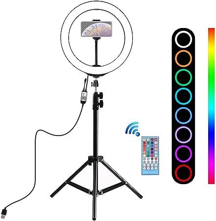 Todo para el streamer: Alan 10 Pulgadas Aro de Luz con Tripode 110cm, Ring Light para Maquillaje, Tiktok, Stream, Fotografia, Vlog (Control Remoto)