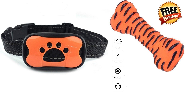 Bark Collar [New Version] Training Humanely Stops Barking Sound Vibration No Shock, Harmless Sonic Anti Bark Small Medium Large Dogs Best Safe Waterproof Bundle Free Interactive Pet Toy