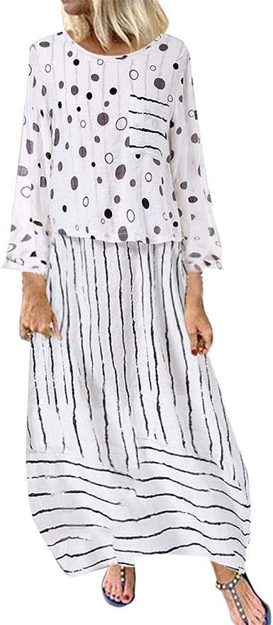 Amazon Com Vestido Largo De Manga Larga Para Mujer De Algodon Casual Clothing