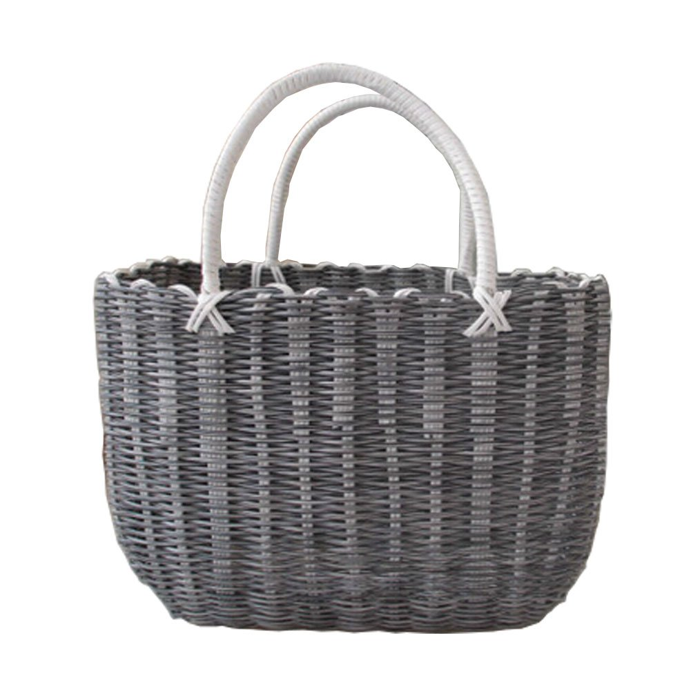 Woven Basket With Handles Storage Baskets Multipurpose Organizer,gray Blancho Bedding