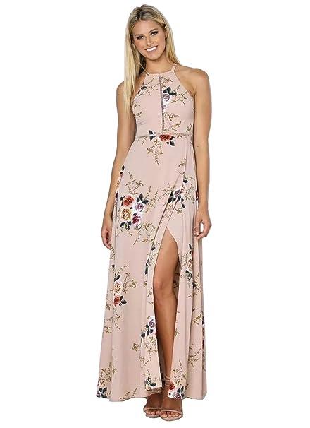 7bf308586bf99f Luojida Sommerkleider Damen Lang Strand Abendkleid Schulterfrei Maxikleid Off  Shoulder Elegant Blumendruck: Amazon.de: Bekleidung