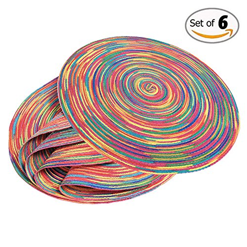 Round Table Placemats (6 Pack) - Wide 15 Inch Woven Braided and Modern Colorful Dining Mat for Silverware in Dining Tables Furniture for Indoor or Outdoor Easy to Clean & Protects Your Tabletop Woven Top Dining Table