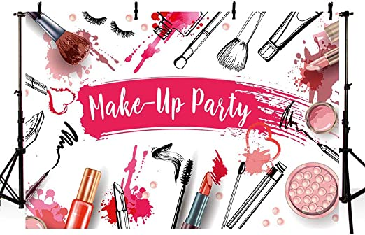 Haoyiyi 7x5ft Bridal Shower Backdrop Glamour Makeup Lipstick Pink and White Stripes Background Photography Photo Woman Girl Ladies Makeup Blogger Fashion Party Living Room Dorm Interior Decor Wall