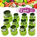 Fruit Vegetable Cutter Shapes Set, Mini Pie, Fruit and Cookie Stamps Mold, Cookie Cutter Decorative Food, for Kids Baking and Food Supplement Tools Accessories Crafts for Christmas, Green (12 pcs)