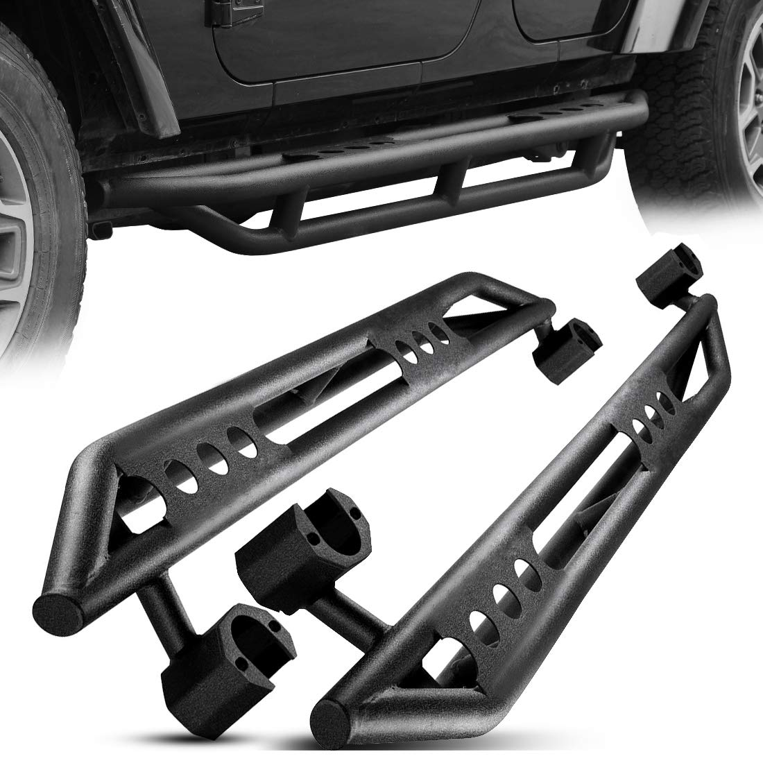 Powder Coating Finishing Side Steps Compatible for 2007-2018 Jeep Wrangler JK 4 Door Off-Road Black Textured Tubing Guard Rock Rails Kit AUTOSAVER88 Running Boards Nerf Bars Excl 2018 JL Models