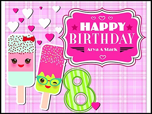 Custom Home Décor Ice Cream and Hearts Birthday Poster for Kids - Size 24x36, 48x24, 48x36; Personalized Emoji Ice Cream Birthday Banner Wall Décor, Handmade Party Supply Poster Print from speedyorders