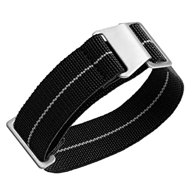 Man's French Troops Military Parachute Watchband, 10 Black-Grey, Size 22mm: Shoes