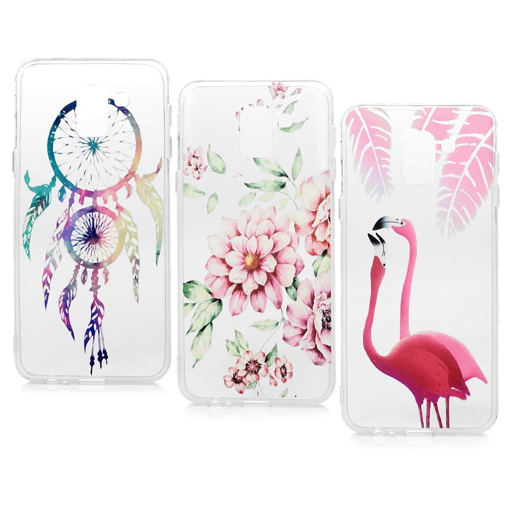 Lanveni Lot de 3 Coque pour Samsung Galaxy J6 2018, Soft Housse étui de Protection en TPU IMD Souple Silicone Transparent Slim Antichoc Ultra-Thin Fine Mince Premium léger - Les Fleurs Aiment