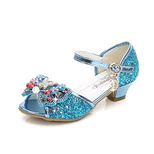 1549d8a58b67b8 A Kids Girls Mary Jane Wedding Party Shoes Glitter Bridesmaids Low Heels  (Blue