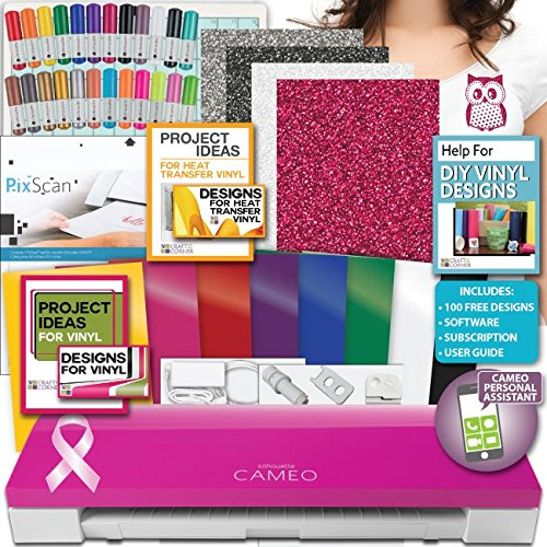 Pink Silhouette Cameo 3 Machine Bundle 2-Oracal Vinyl Siser Heat Transfer Pens by Silhouette America
