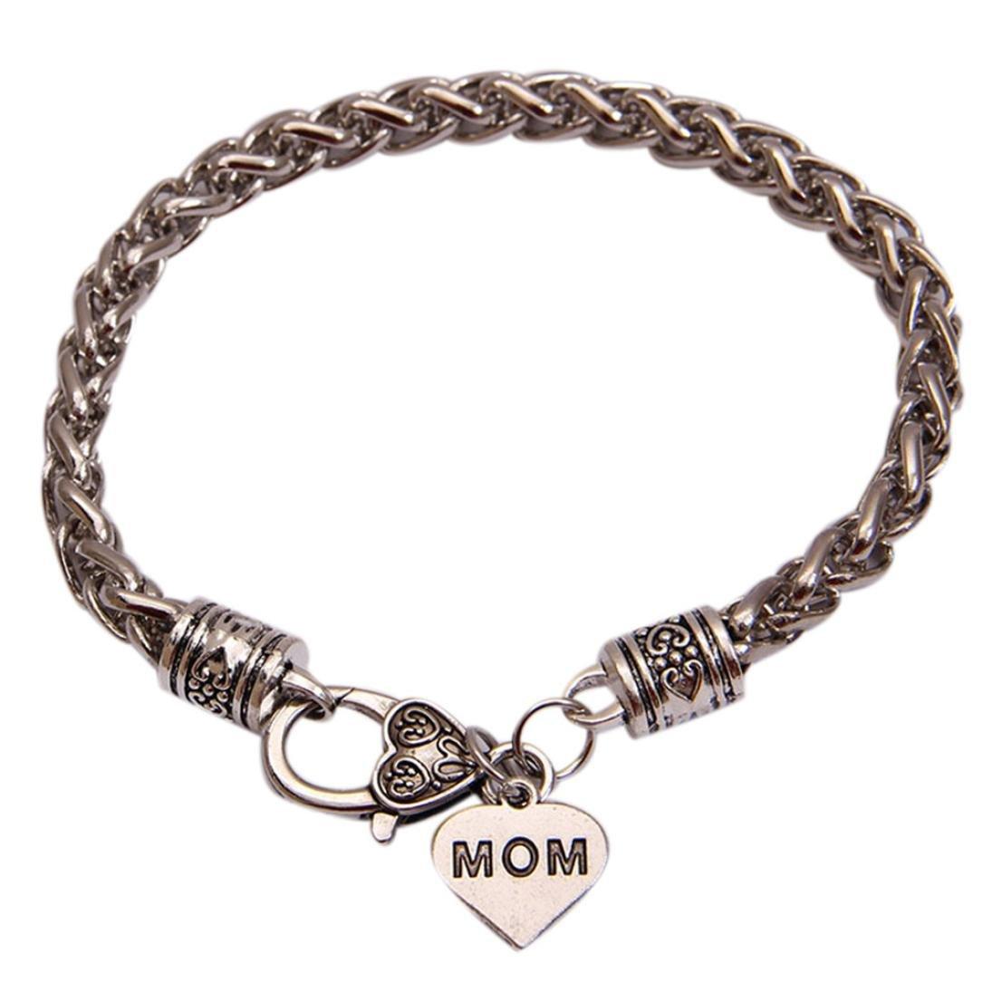 BCDshop Fashion Unisex's Chain Bracelet Jewelry Stainless Steel Cuban Curb Link Wristband Bracelets (A, alloy)