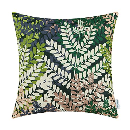CaliTime Canvas Throw Pillow Cover Case for Couch Sofa Home Decoration Natural Lush Leaves Print 18 X 18 inches Multi Colors