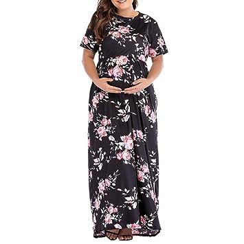 a15fc15d26706 Maternity Dress Photos Shoot | Inkach Pregnancy Women Floral Printed Crew  Neck Short Sleeve Long Maxi