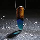 Wood and Resin Statement Necklace Handmade Blue