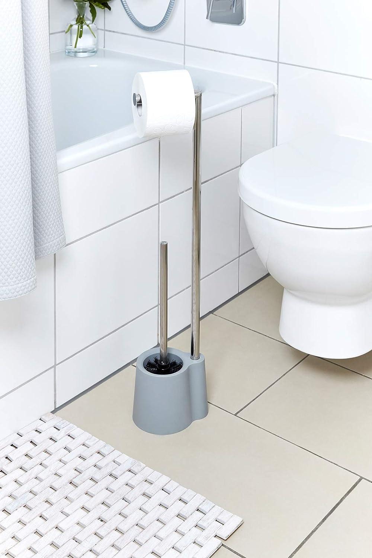 16 x 13 x 70 cm Wenko Stand Garnitur Avola WC-B/ürstenhalter Grau Polypropylen