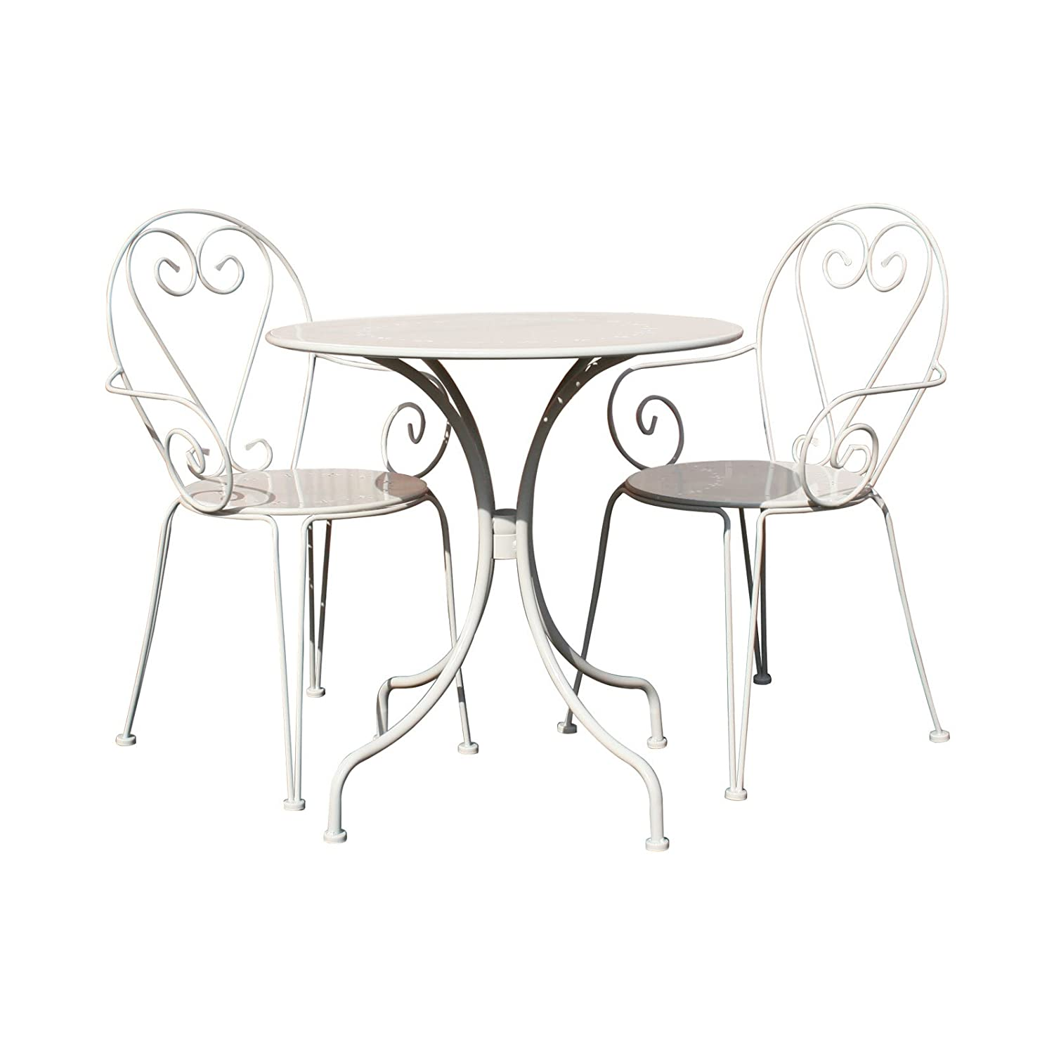 Charles Bentley Garden Outdoor Steel Heart 3 Piece Shabby Chic Bistro Set - Cream & Grey
