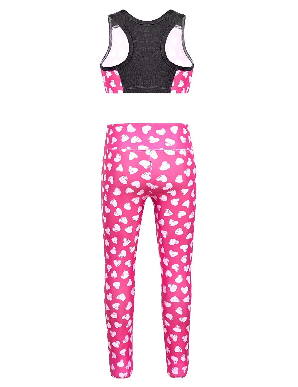 CHICTRY Children Girls 2 Piece Athletic Leggings with Crop Tops Outfits Sets for Gymnastics Sports Workout