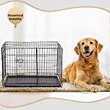 Dog Crate Dog Cage Pet Crate 42 Inch Folding Metal Pet Cage Double Door W/Divider Panel Dog Kennel Leak-Proof Plastic Tray Wire Animal Cage