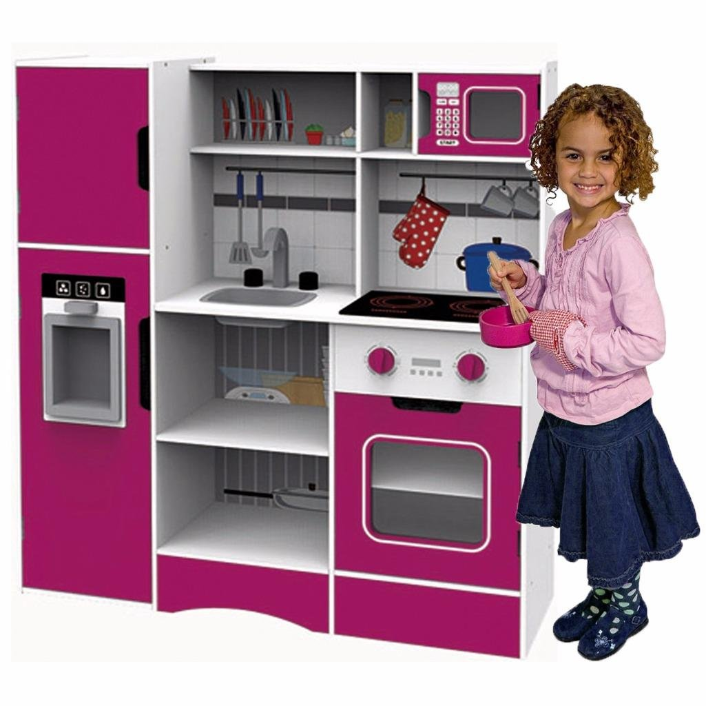 Childs Large Modern Wooden Kitchen Set Oven Fridge Sink Pretend Role Play Toy The Magic Toy Shop