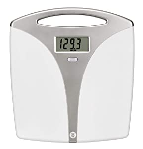 Ww Scales by Conair Portable Precision Plastic Electronic 5 Weight Tracker Bathroom Scale with Carry Handle; Measures Weight to 400 Lb; Silver & White Bath Scale – Weight Watchers Reimagined