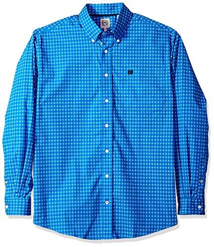 Cinch Men's Classic Fit Long Sleeve Button One Open Pocket Print Shirt, Royal Diamond, L